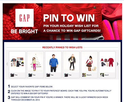 Gap's Facebook and Pinterest Contest